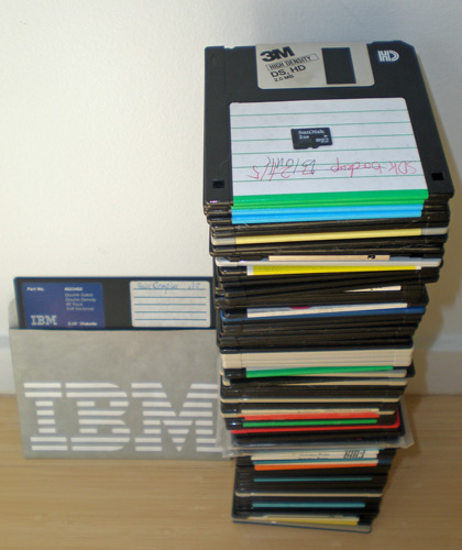 "90 3.5"" floppies plus a 5.25"" floppy and a 2GB microSD card"