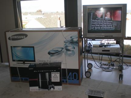 old Sony Trinitron, new Samsung in box with PS3
