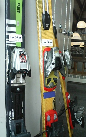 hacked-up Volkl G41 and Salomon XScream Séries skis
