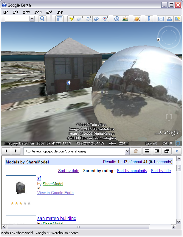SketchUp house in Google Earth