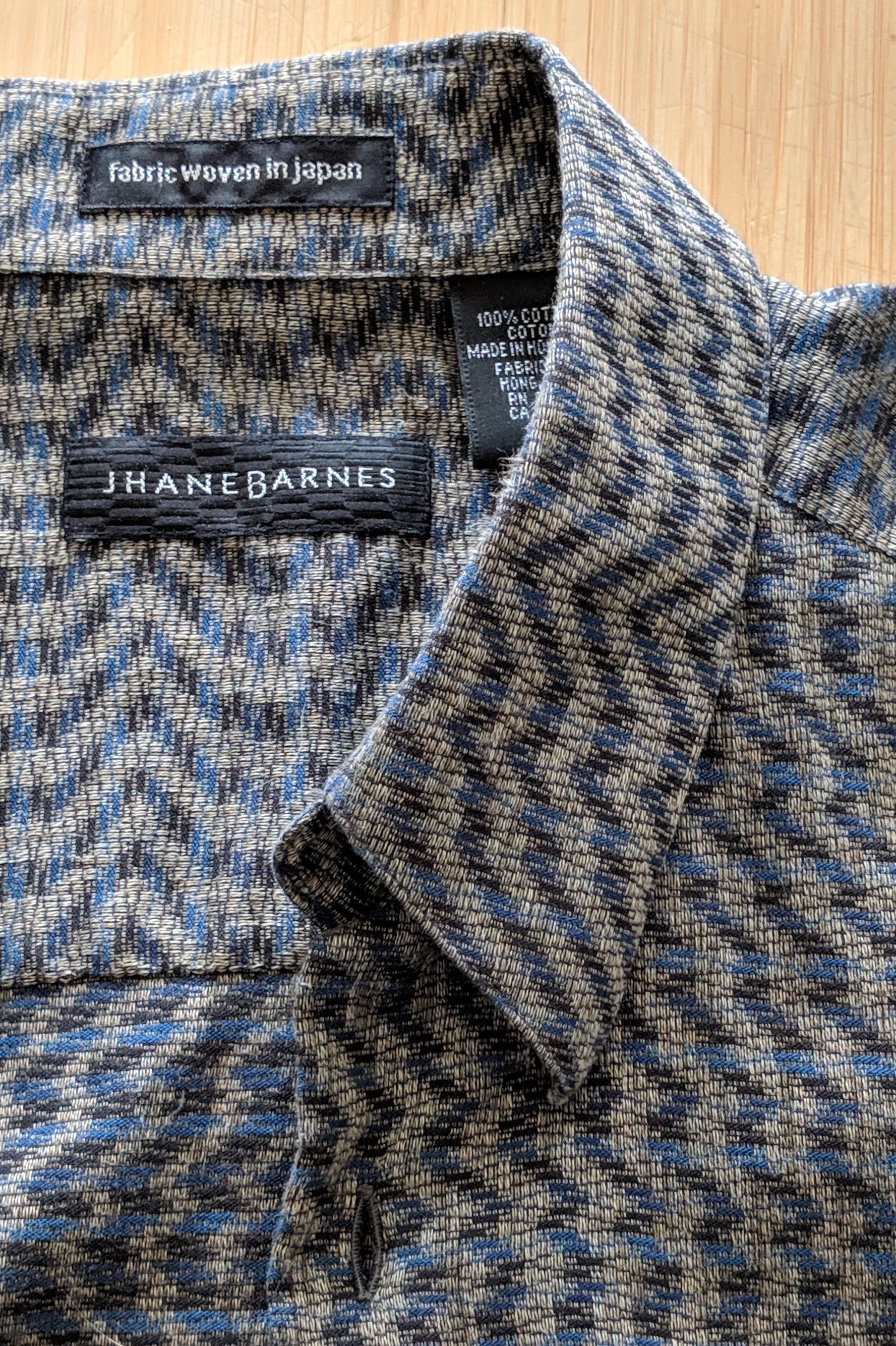 Jhane Barnes shirt, fabric woven in Japan