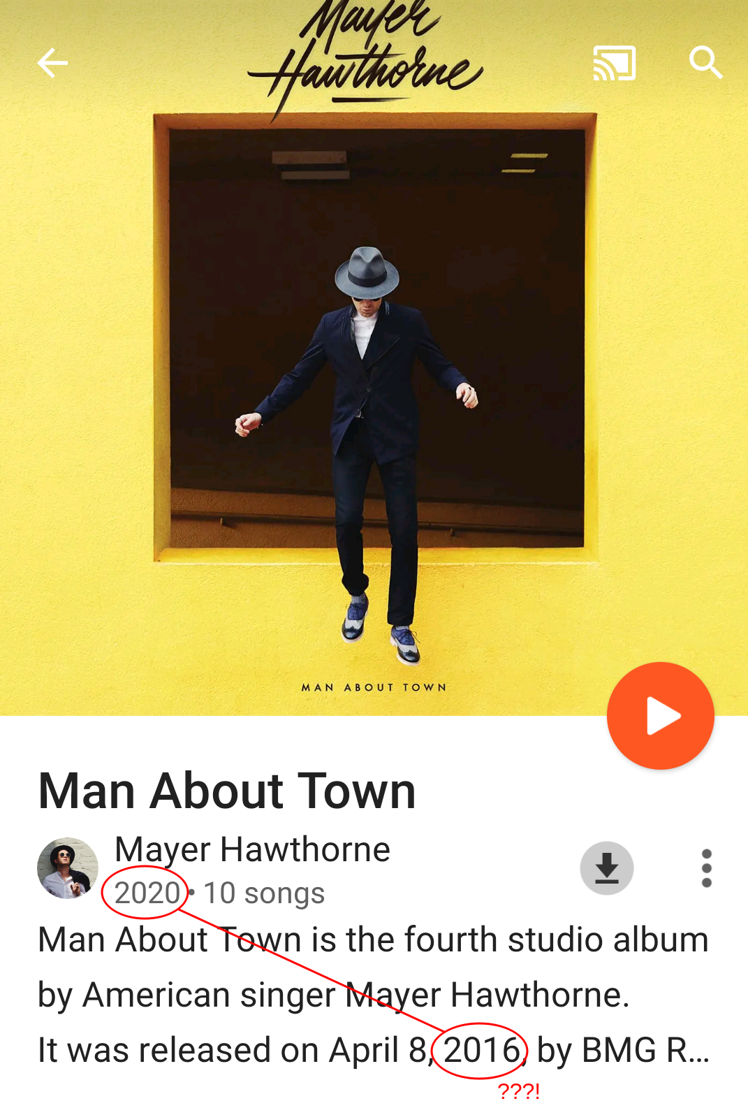 Mayer Hawthorne 'Man About Town' album in GPM with conflicting year of release